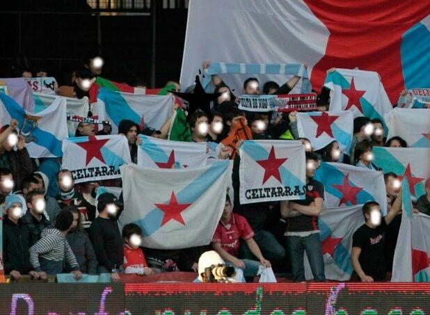 Miembros de la peña Celtarras en Balaídos (Foto: LD).