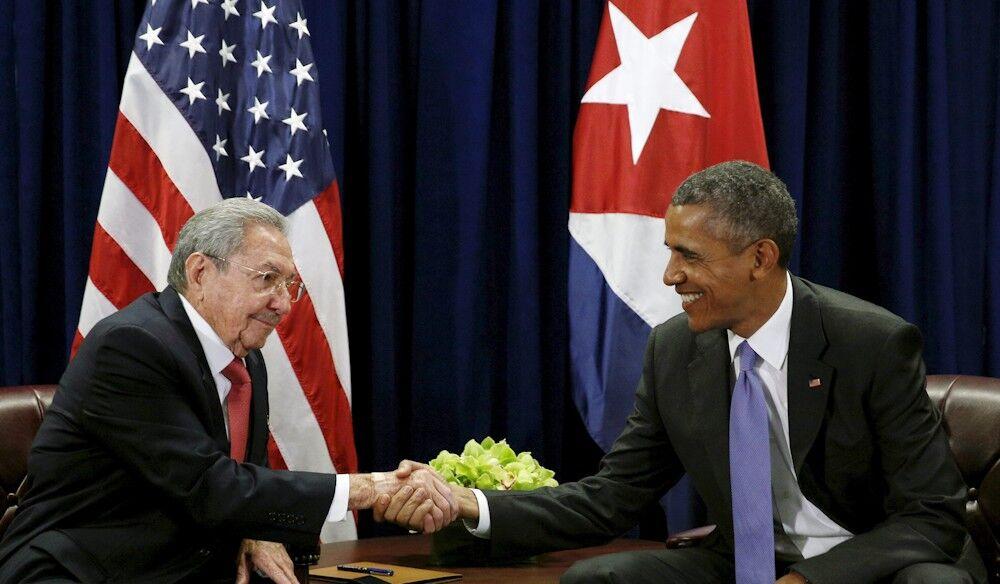 Barack Obama y Raúl Castro tras conferencia de prensa en la Habana, Cuba.
