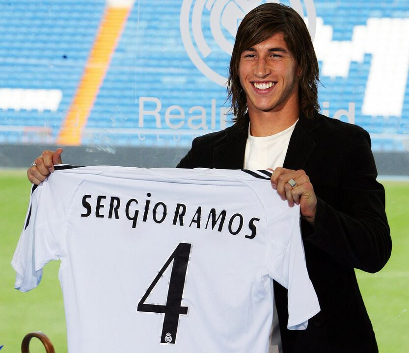 Sergio Ramos, en su presentación con el Real Madrid.