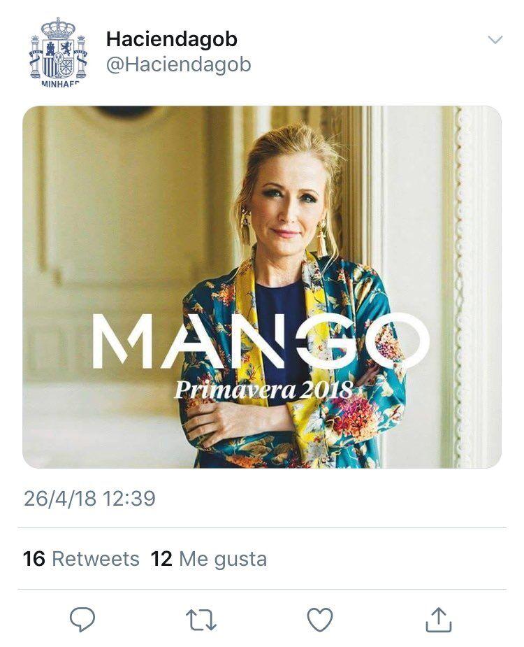 El Ministerio de Hacienda se burla de Cifuentes en Twitter