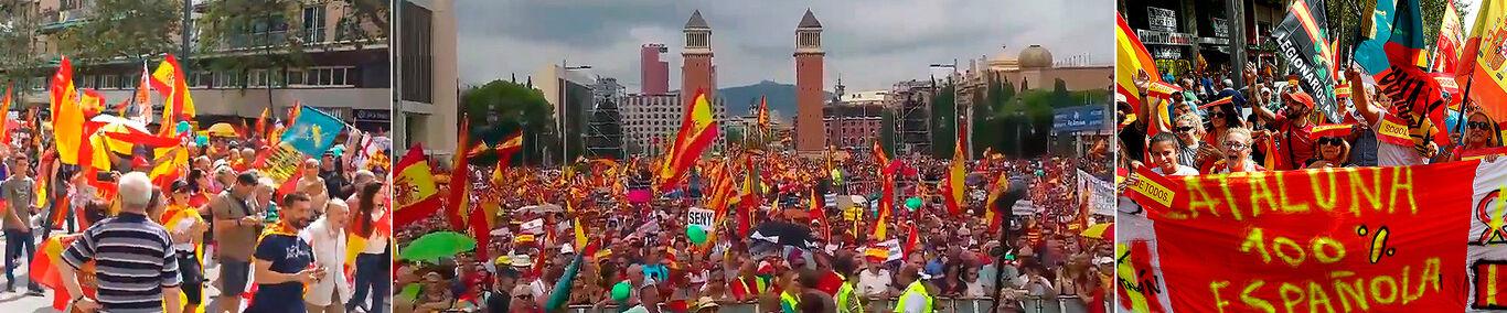 DECENAS DE MILES DE CATALANES MARCHAN EN BARCELONA POR LA UNIDAD DE ESPAÑA