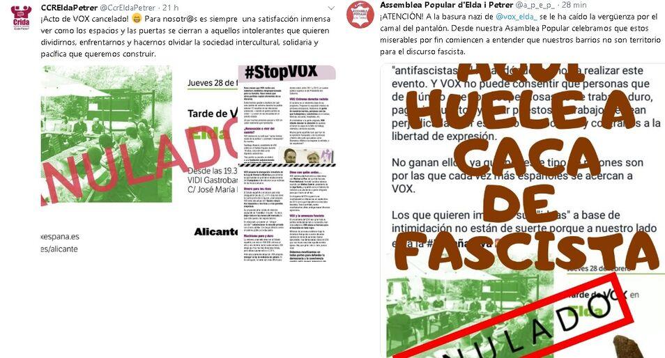 separation shoes b7c89 bc926 Grupos de extrema izquierda boicotean un acto de Vox en Elda y obligan a  cancelarlo