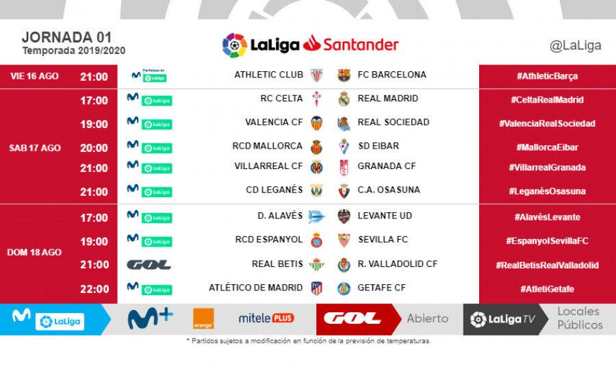Calendario La Liga 2019.Como Queda El Calendario De Laliga Al No Jugarse Partidos Los Lunes