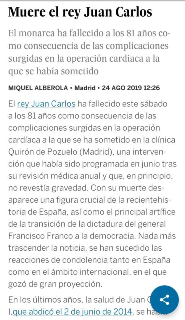'El País' mata por unos segundos a Juan Carlos I y la metedura de pata llega hasta Argentina