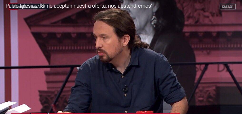 Pablo Iglesias anuncia que Podemos se abstendrá si Pedro Sánchez no acepta su última oferta