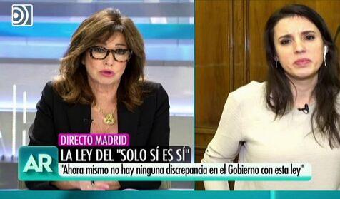 """Irene Montero le dice a Ana Rosa que """"si denuncias una violación te preguntan si llevabas minifalda"""""""