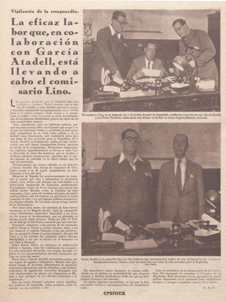 """La actividad represiva de las milicias de García Atadell encontró entre los meses de agosto, septiembre y octubre de 1936 un extraordinario eco en la prensa republicana, como muestra este reportaje también de """"Crónica"""", del 4 de octubre. (Biblioteca Nacional)"""