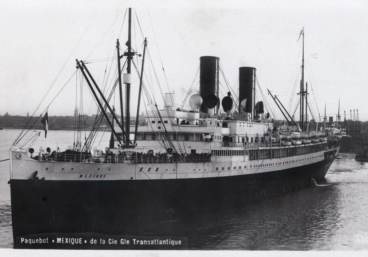 """El vapor """"Mexique"""", en el que García Atadell zarpó de Saint-Nazaire (Francia) con destino a La Habana en su huida de la España republicana con el producto de los robos a las víctimas de su checa. Fue detenido por las autoridades nacionales cuando el barco hizo escala en Santa Cruz de la Palma a finales de noviembre de 1936."""