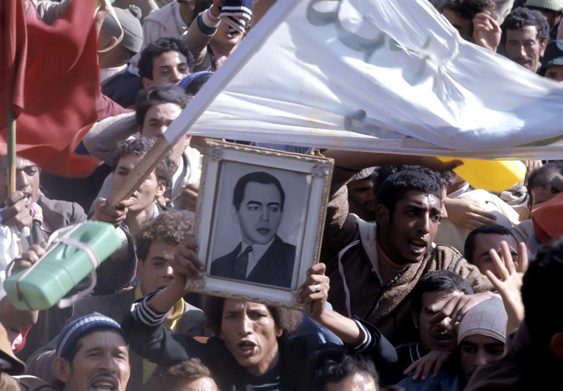 Marroquíes durante la Marcha Verde en 1975