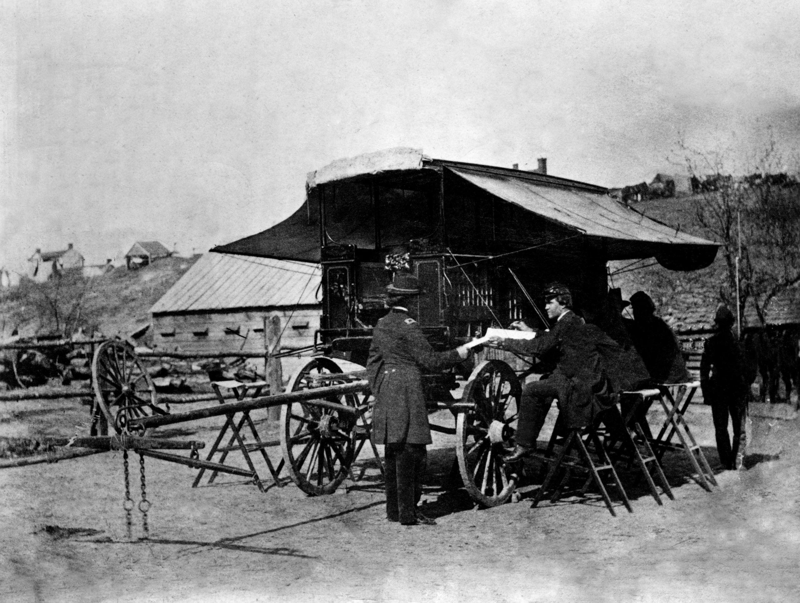 Ejército de Cumberland. Imagen de un cuartel móvil para controlar a las tropas