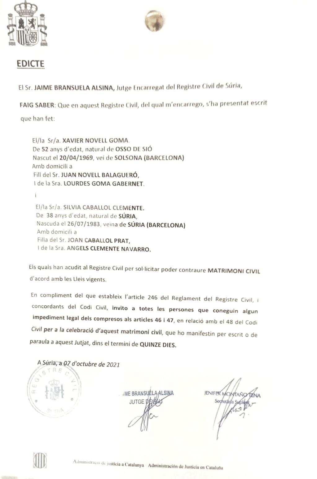 Documento del Registro Civil de Suria