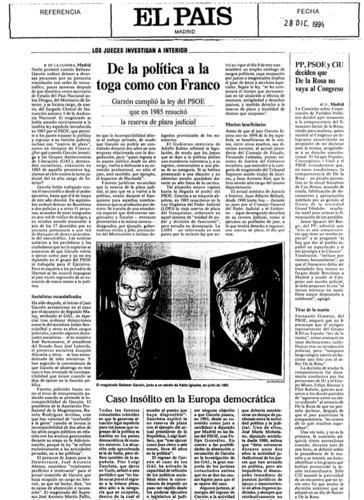 Información de El País sobre Garzón, el 28 de diciembre de 1994.