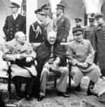 Churchill, Roosevelt y Stalin.