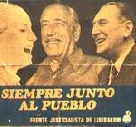 Evita, Cámpora y Perón, en un cartel electoral.