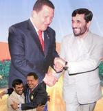 Mahmud Ahmadineyad y Hugo Chávez.