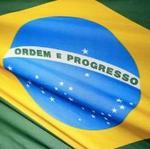 Detalle de la bandera del Brasil.
