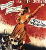 Detalle de un cartel del PCE en las elecciones del 36.