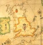 Detalle de un mapa de 1588¡ con los movimientos de la Armada.