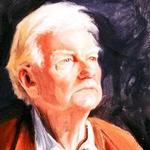 Detalle de un retrato de Paul Johnson debido a Katrina Bovill.