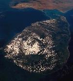 Sri Lanka, fotografiada desde un satélite.