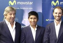 Eusebio Unzué (i), junto a Nairo Quintana (c) y Alejandro Valverde. | EFE