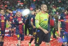 Valdés celebrando el trunfo en la Liga