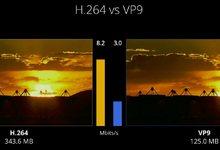 Comparación entre los formatos H.264 y VP9 hecha en la conferenca Google I/O de este año. | Google