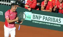 Almagro, durante las semifinales de la Copa Davis.   EFE