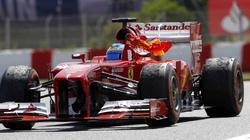 Alonso, con la bandera de España, al llevarse el Gran Premio de España. | EFE