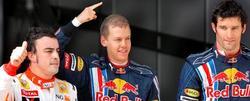 Webber, junto a Alonso en el podio. | Archivo