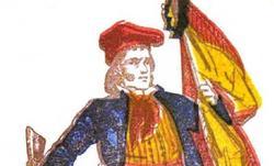 Ilustración de 1881 en Barcelona en la que aparece un catalán con barretina y la bandera de España