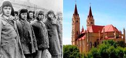 Presos del gulag de Karaganda y la actual catedral