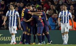 El Barcelona celebra el primer gol ante el Espanyol. | EFE