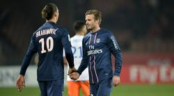 Beckham e Ibrahimovic, durante el partido ante el Montpellier.   Cordon Press