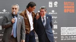 Alejandro Blanco, Rafa Nadal y Manolo Santana, durante la presentación del torneo. | EFE