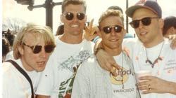 Bobby (primero por la derecha) junto a cuatro amigos en el maratón de Boston en los años 90 | Bobby de Luca