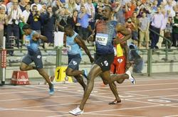 Usain Bolt se impone en la reunión de Bruselas.   EFE
