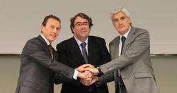 Emilio Butragueño, Jorge Pérez y Clemente Villaverde confirmaron la sede de la final de Copa. | EFE