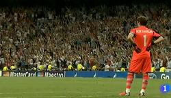 Casillas no celebró ninguno de los tres goles ante el City.   Imagen: TVE