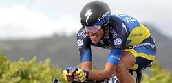 Alberto Contador, durante la contrarreloj entre Cambados y Pontevedra. | EFE