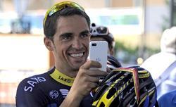Alberto Contador, durante la primera jornada de descanso en Baule.   EFE