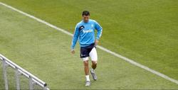 Cristiano Ronaldo, durante el entrenamiento en Valdebebas. | EFE