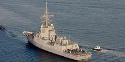 La F105 Cristobal Colón durante sus pruebas de mar. | Navantia