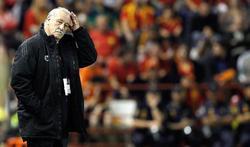 Vicente del Bosque, durante el partido ante Georgia en Albacete.   EFE