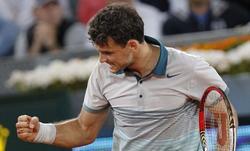 Grigor Dimitrov celebra su victoria ante Djokovic. | EFE