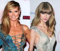 La presentadora del evento, Heidi Klum, y Taylor Swift