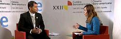 Correa, durante la entrevista | Imagen TV