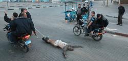 Terroristas de Hamas arrastran a uno de los asesinados por colaboracionismo con Israel.   Cordon Press