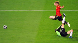 Fernando Torres, en el momento de ejecutar el histórico gol ante Alemania.