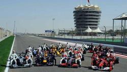 Los pilotos de Fórmula 1, el año pasado en la presentación del GP de Baréin.
